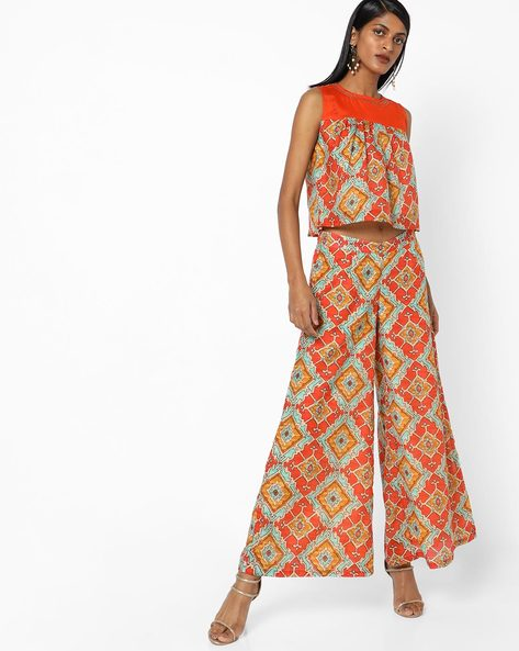 Geometric Print Top With Palazzo Pants By AJIO ( Orange )