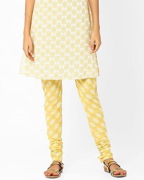 Printed Churidar Pants By AJIO ( Yellow )