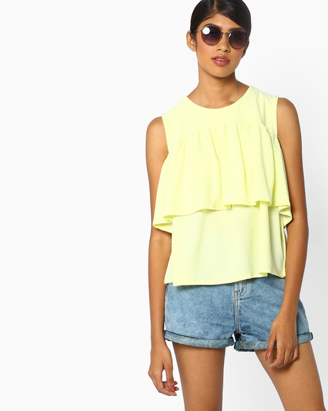 Sleeveless Tiered Top By AJIO ( Yellow )
