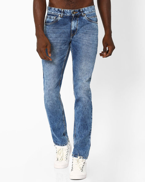 Mid-Rise Slim Straight Jeans By AJIO ( Blue )