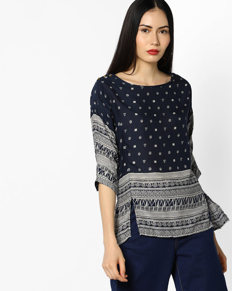 Printed Top With Front Slits By WRANGLER ( Blue )