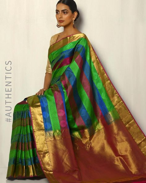 Handloom Arani Striped Pure Silk Saree By Pretty Woman ( Multi )