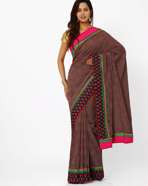 Printed Art Silk Saree By Vishal Prints ( Grey )