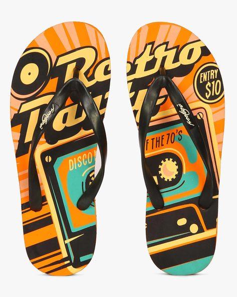 Retro Party Print Flip-Flops By Freetoes ( Orange )