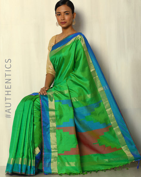Handloom Arani Striped Pure Silk Saree By Pretty Woman ( Green )
