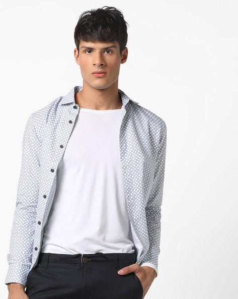 Geometric Print Shirt With Curved Hem By US POLO ( White )