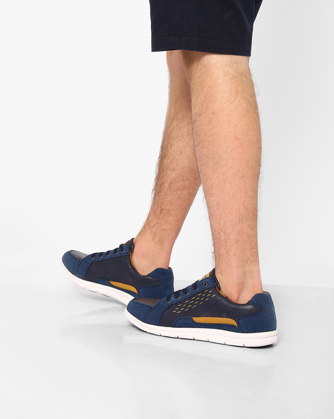 Panelled Casual Shoes With Overlays By ID ( Navy )