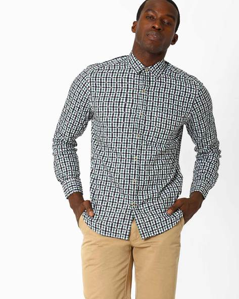 Slim Fit Checked Shirt By JOHN PLAYERS ( Green )