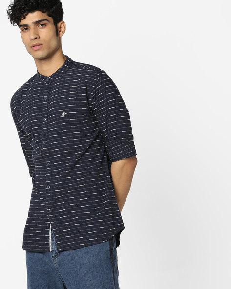Striped Shirt With Band Collar By ED HARDY ( Blue )