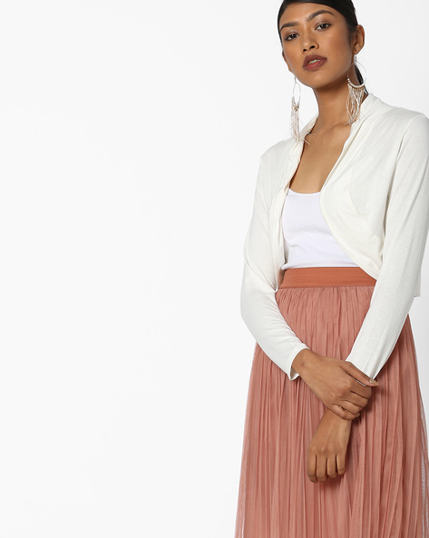 Open-Front Shrug With Roll-Up Tabs By FIG ( Offwhite )