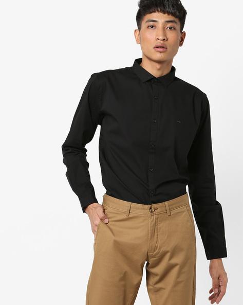 Slim Fit Shirt With Curved Hemline By BASICS ( Black )