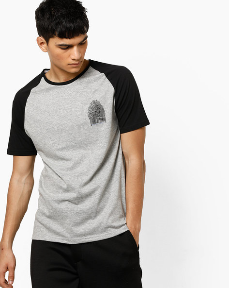 Crew-Neck T-shirt With Raglan Sleeves By AJIO ( Grey )