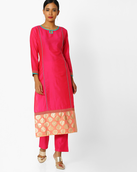Printed Straight Kurta By Indian Ink ( Fuschia )
