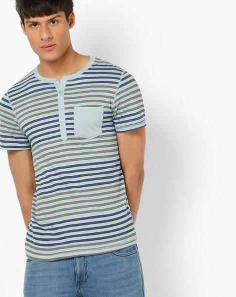 Striped Henley T-shirt With Patch Pocket By AJIO ( Aqua )