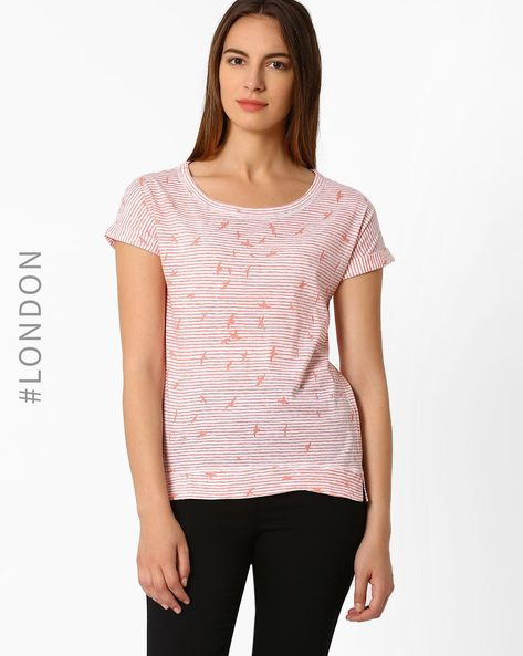 Printed Cotton T-shirt By Marks & Spencer ( Red )