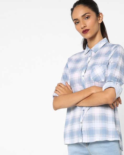 Checked High-Low Top By Fame Forever By Lifestyle ( Blue )