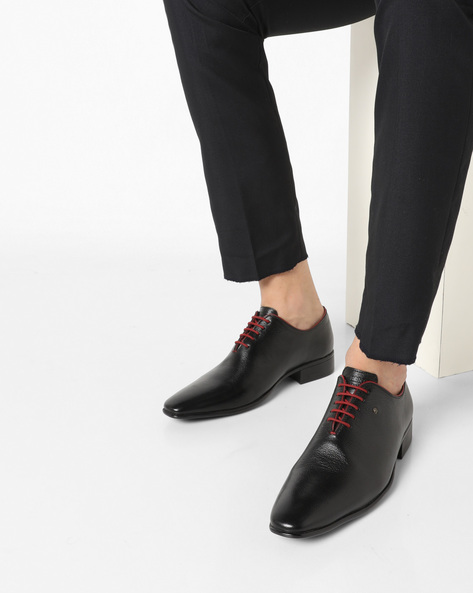 Genuine Leather Lace-Up Formal Shoes By ALBERTO TORRESI ( Blkred )