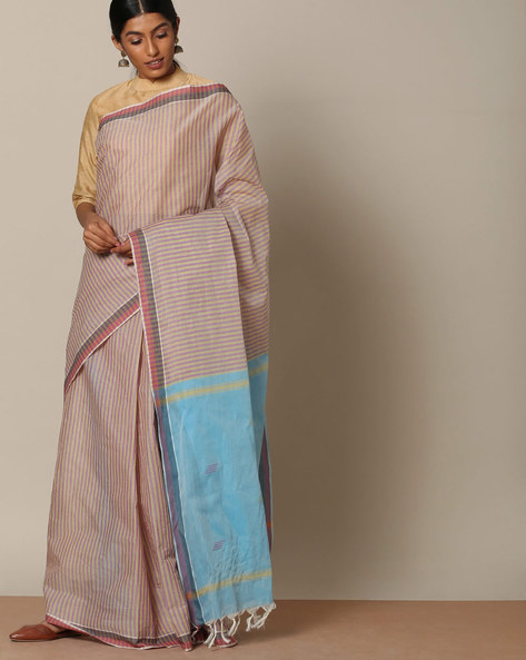 Striped Cotton Saree With Buti At Pallu By Indie Picks ( Purple ) - 460117985001