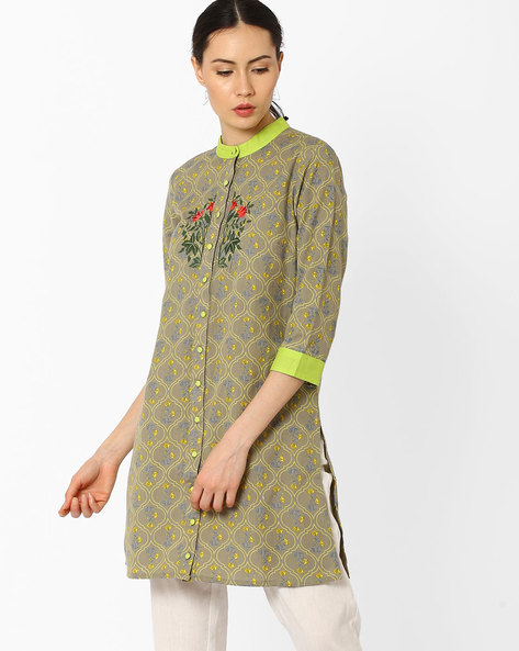 Printed Tunic With Embroidery By AJIO ( Multi )