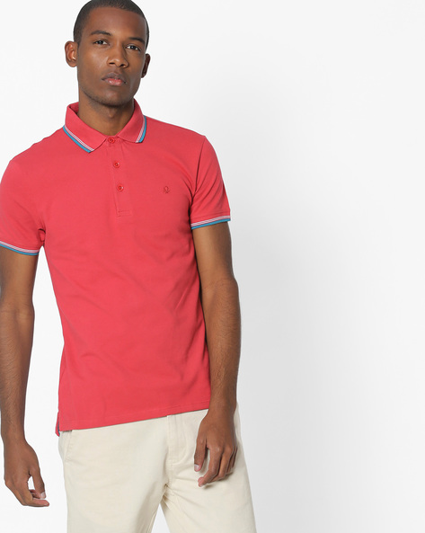 Polo T-shirt With Contrast Tipping By UNITED COLORS OF BENETTON ( Maroon )