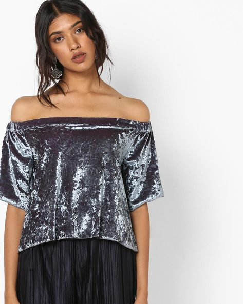Off-Shoulder Velvet Top By Sassafras ( Grey )