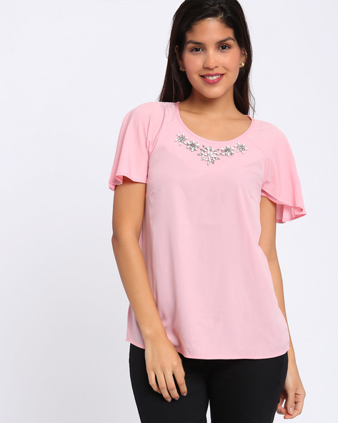 Embellished Top With Flutter Sleeves By Annabelle By Pantaloons ( Black )