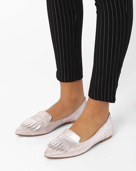 Genuine Leather Flat Shoes With Tassels By Inara ( Silver )