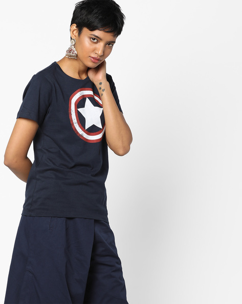 Captain America Print Crew-Neck T-shirt By Free Authority ( Navyblue )