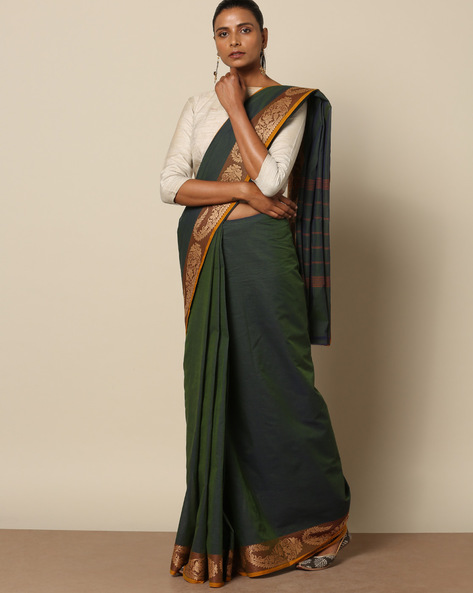 Kanchi Cotton Saree With Woven Border By Indie Picks ( Green ) - 460164731001