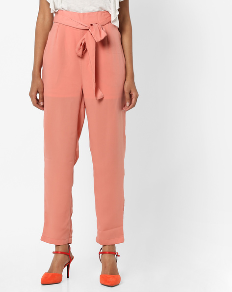 High-Waist Trousers With Tie-up By AJIO ( Pink )
