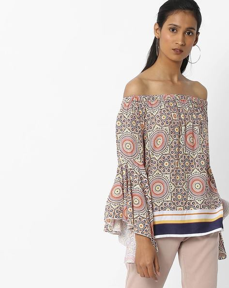 Printed Off-Shoulder Top With Bell Sleeves By FIG ( Mustard )