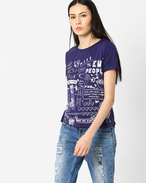 Doodle Print Crew-Neck T-shirt By AJIO ( Blue )
