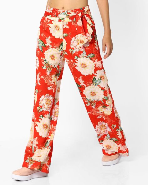 Floral Print Palazzos With Tie-Up By AJIO ( Red )