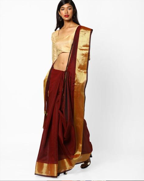 Self-Striped Saree With Zari Border By CHHABRA 555 ( Brown )