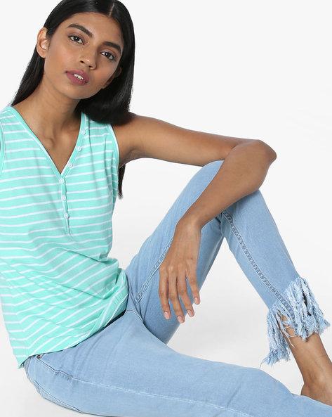 Sleeveless Striped T-shirt By AJIO ( Mint )