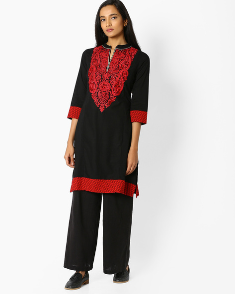 Straight Kurta With Embroidery By Jiyaa ( Black )