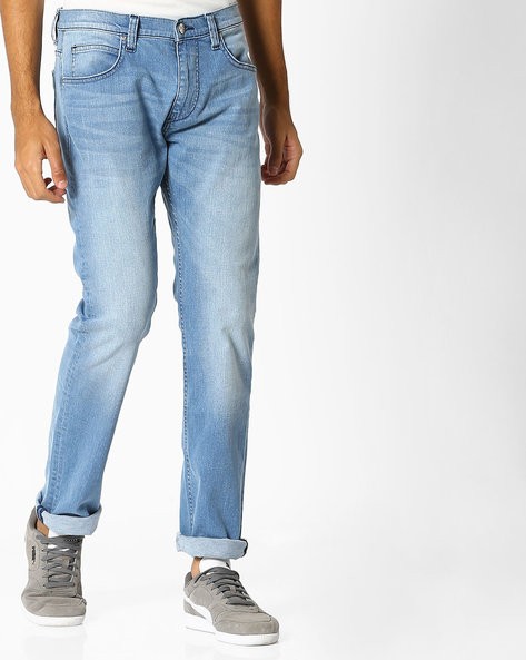Lightly Washed Slim Fit Jeans By Lee ( Blue )