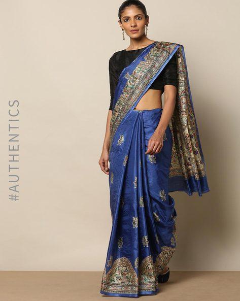 Madhubani Print Pure Silk Saree By Rudrakaashe-MSU ( Blue ) - 460153873001