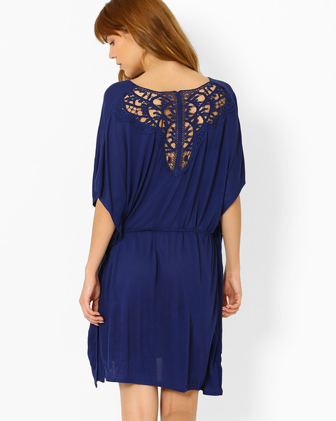Kaftan Nightdress With Waist Tie-Up By Slumber Jill ( Navyblue )