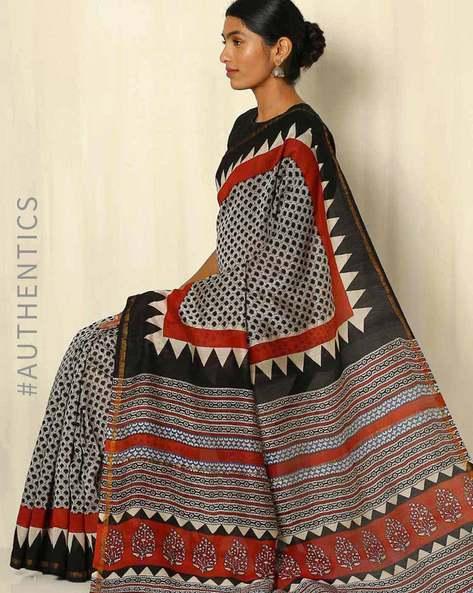 Bagru Handblock Print Chanderi Saree With Zari Border By Indie Picks ( Multi ) - 460053754001