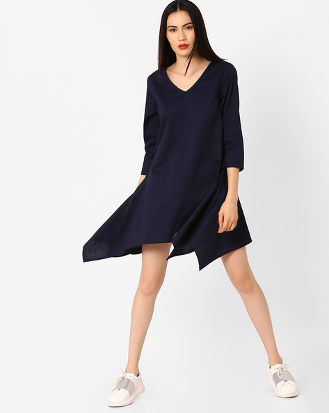 Shift Dress With Handkerchief Hemline By AJIO ( Navyblue )