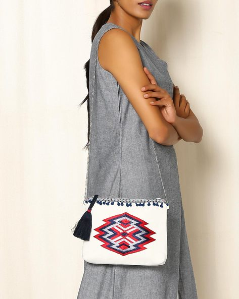 Canvas Sling Bag With Geometric Motifs By Indie Picks ( White )