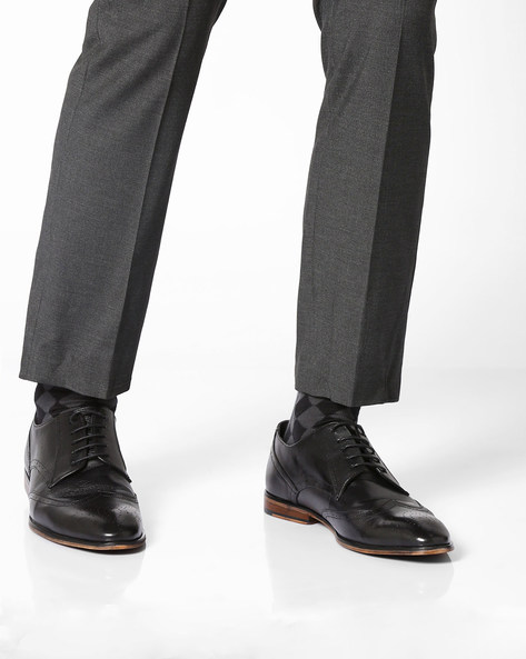 Genuine Leather Derby Shoes By TEAKWOOD LEATHERS ( Black )
