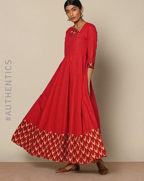 Handloom Cotton Dress With Kalamkari By Indie Picks ( Maroon )
