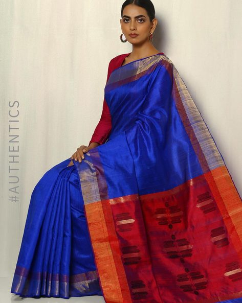 Handloom Pure Silk Dupion Saree With Zari Border By Pretty Woman ( Blue )