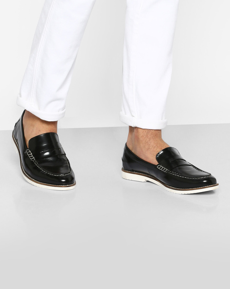 Genuine Leather Penny Loafers By Carlton London ( Black )