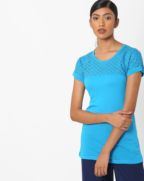 Cotton T-shirt With Lace Yoke By WRANGLER ( Blue )