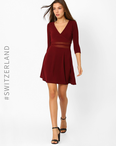 Skater Dress With Surplice Neckline By TALLY WEiJL ( Wine )
