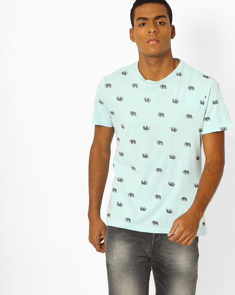 All-Over Pigment Print T-shirt By AJIO ( Green )