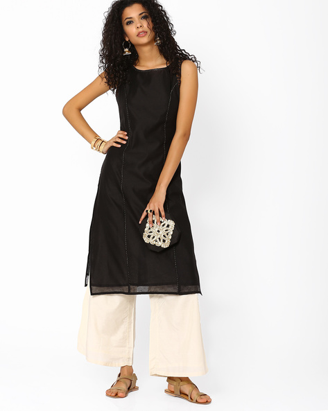 Kurta With Palazzo Pants By AJIO ( Black )